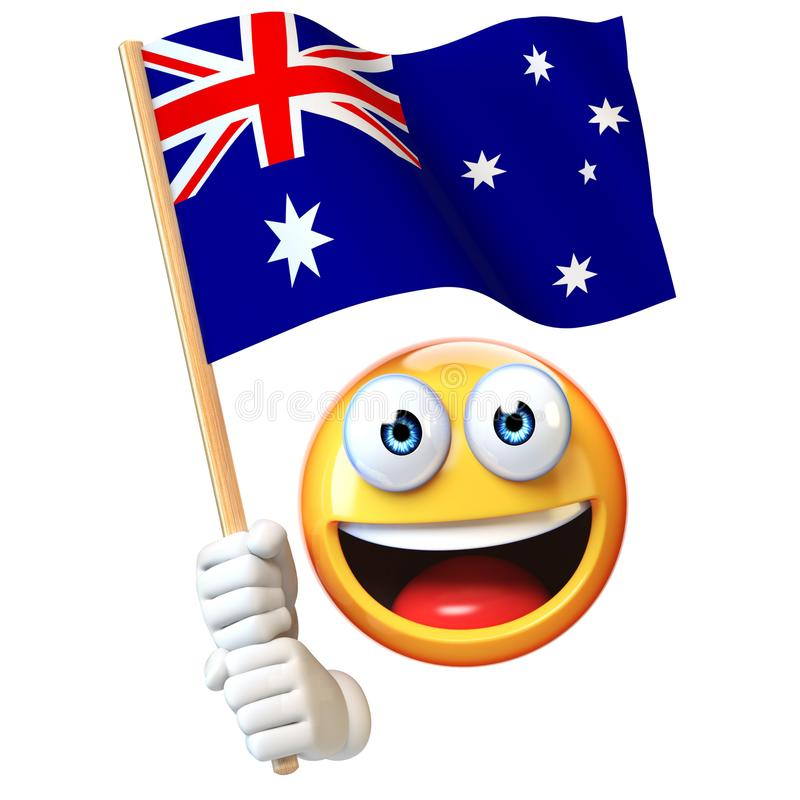 Emoji que guarda a bandeira australiana, emoticon que acena a bandeira nacional da rendição de Austrália 3d ilustração royalty free
