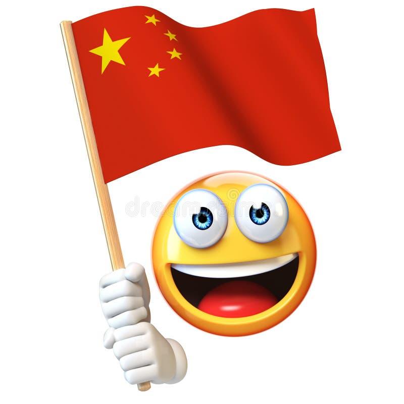 Emoji que guarda a bandeira chinesa, emoticon que acena a bandeira nacional da rendição do Polônia 3d ilustração stock