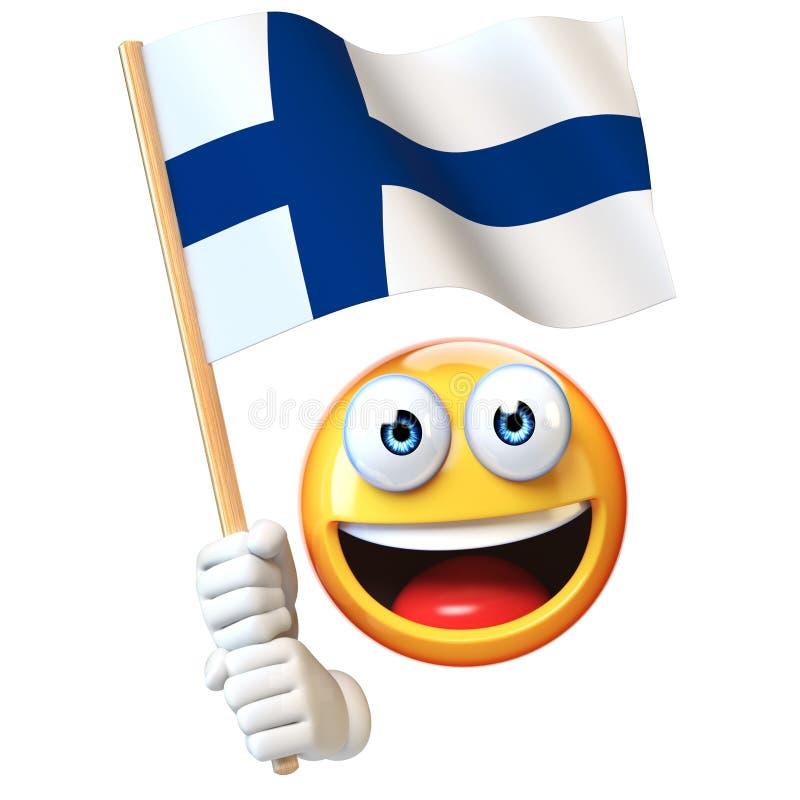 Emoji que guarda a bandeira de Finlandia ilustração royalty free