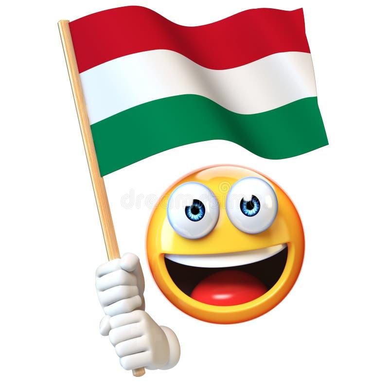 Emoji que guarda a bandeira húngara, emoticon que acena a bandeira nacional da rendição de Hungria 3d ilustração stock