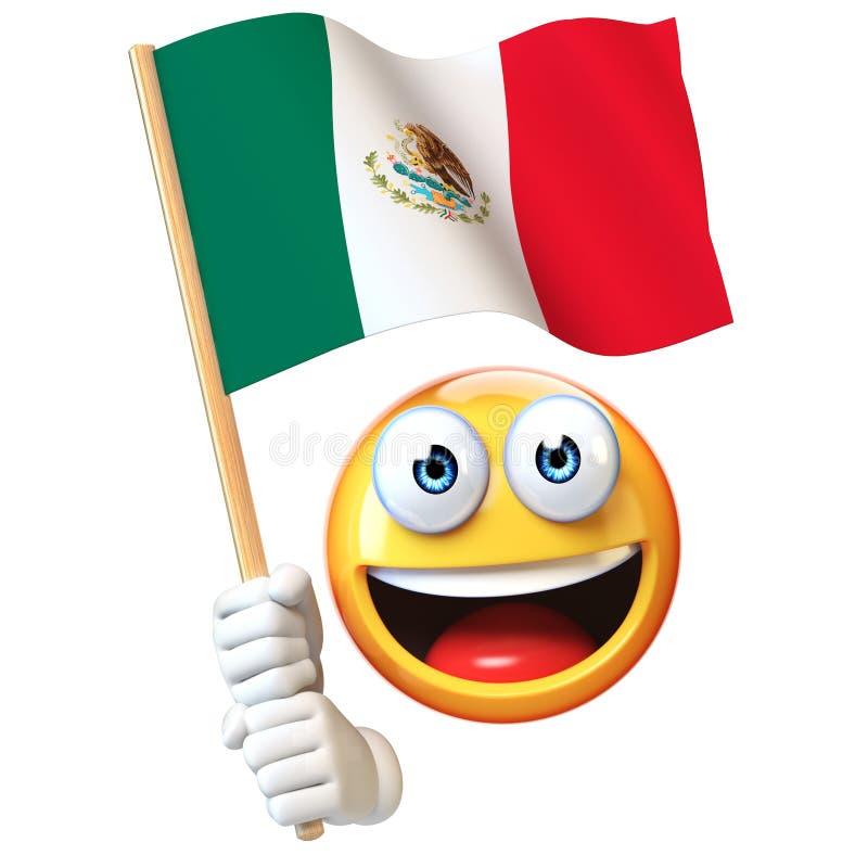 Emoji que guarda a bandeira mexicana, emoticon que acena a bandeira nacional da rendição de México 3d ilustração do vetor
