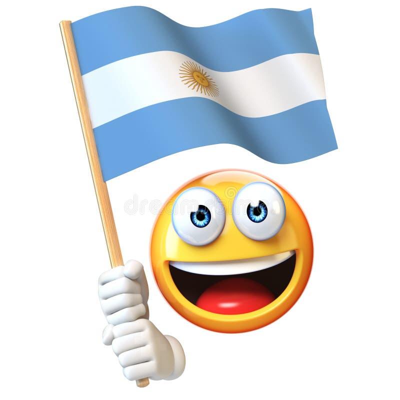 Emoji que sostiene la bandera argentina, emoticon que agita la bandera nacional de la representación de la Argentina 3d stock de ilustración