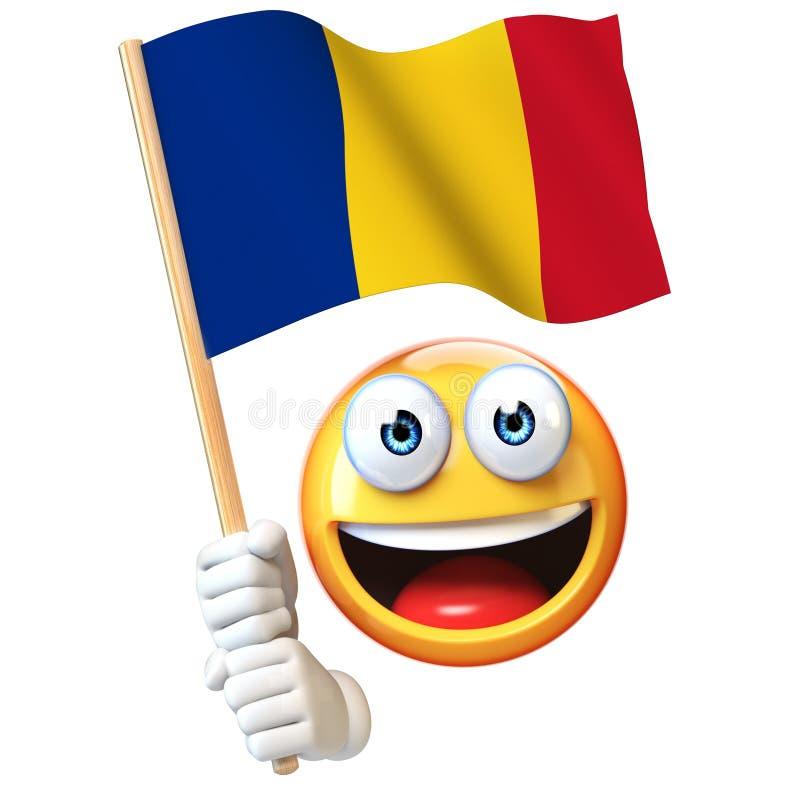 Emoji que sostiene la bandera rumana, emoticon que agita la bandera nacional de la representación de Rumania 3d ilustración del vector