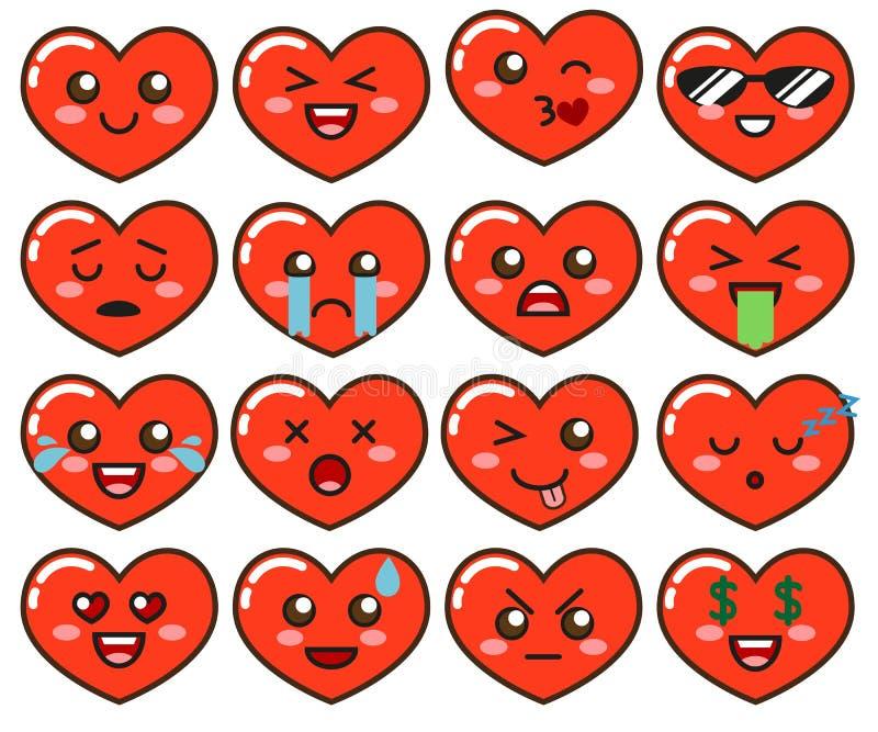 Emoji röda hjärtor Gulliga emoticons som isoleras på vit bakgrund stock illustrationer