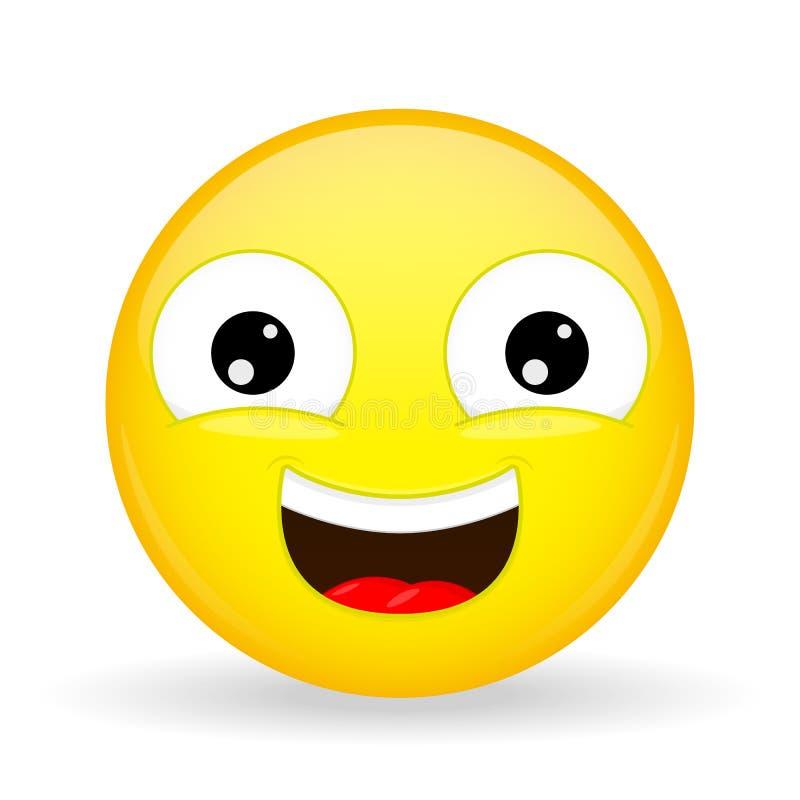 Emoji riant Émotion de bonheur Émoticône douce de sourire illustration stock