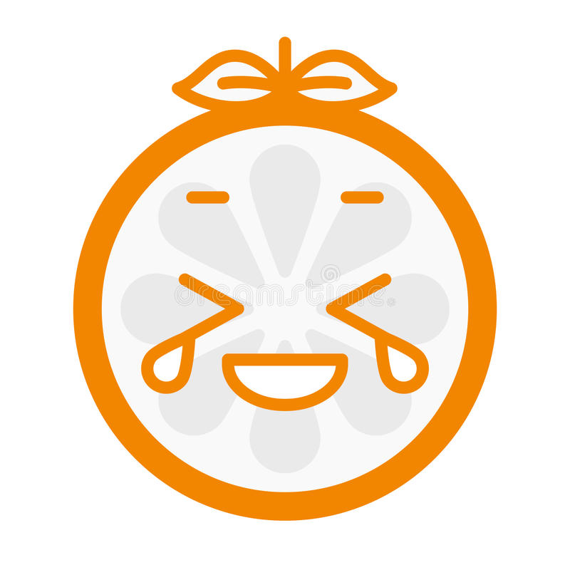 Emoji - ridendo con il sorriso arancio degli strappi Vettore isolato illustrazione vettoriale
