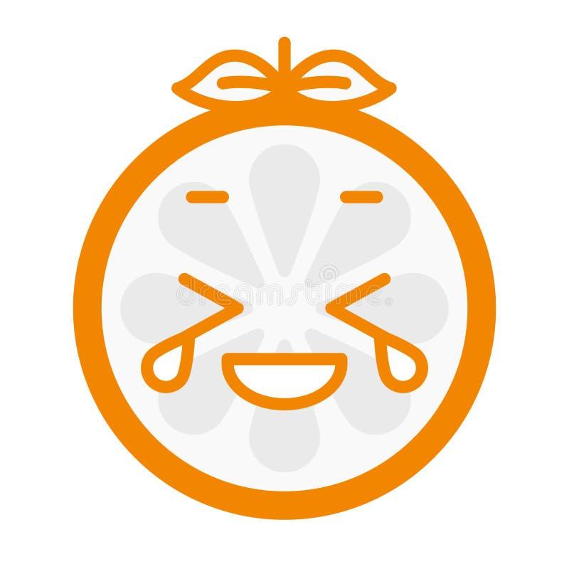 Emoji - rindo com sorriso alaranjado dos rasgos Vetor isolado ilustração do vetor