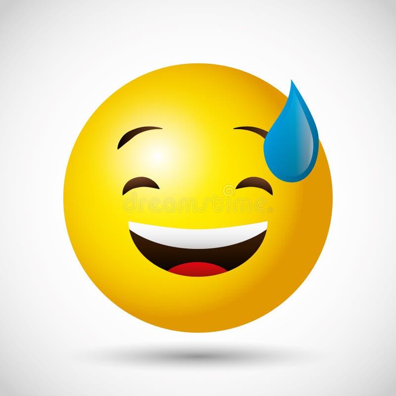 Emoji round twarzy żółty emoticon ilustracji