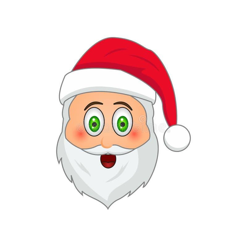 Emoji Santa Claus Émoticône de vacances d'hiver Le père noël dedans préoccupé par l'icône d'emoji illustration stock