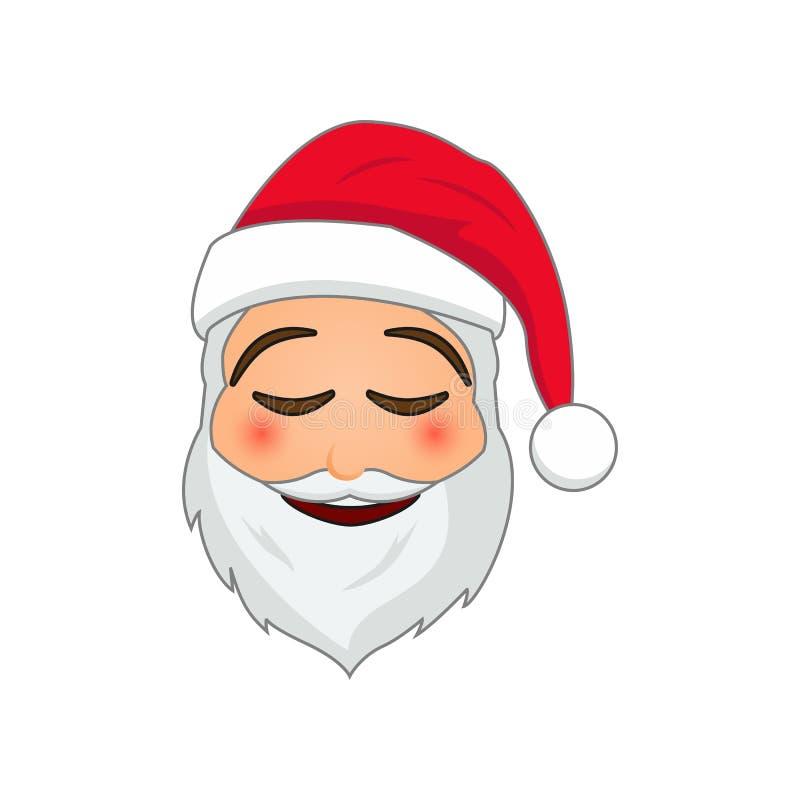 Emoji Santa Claus Emoticon för vinterferier Santa Claus i lätt angenäm leendeemojisymbol vektor illustrationer