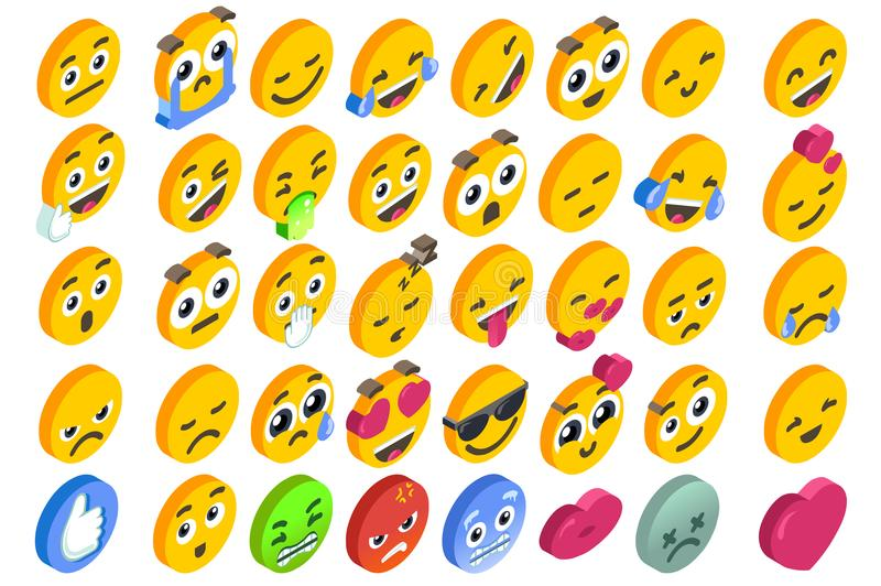 Emoji Set Emoticon Reactions Social Button Vector stock illustration