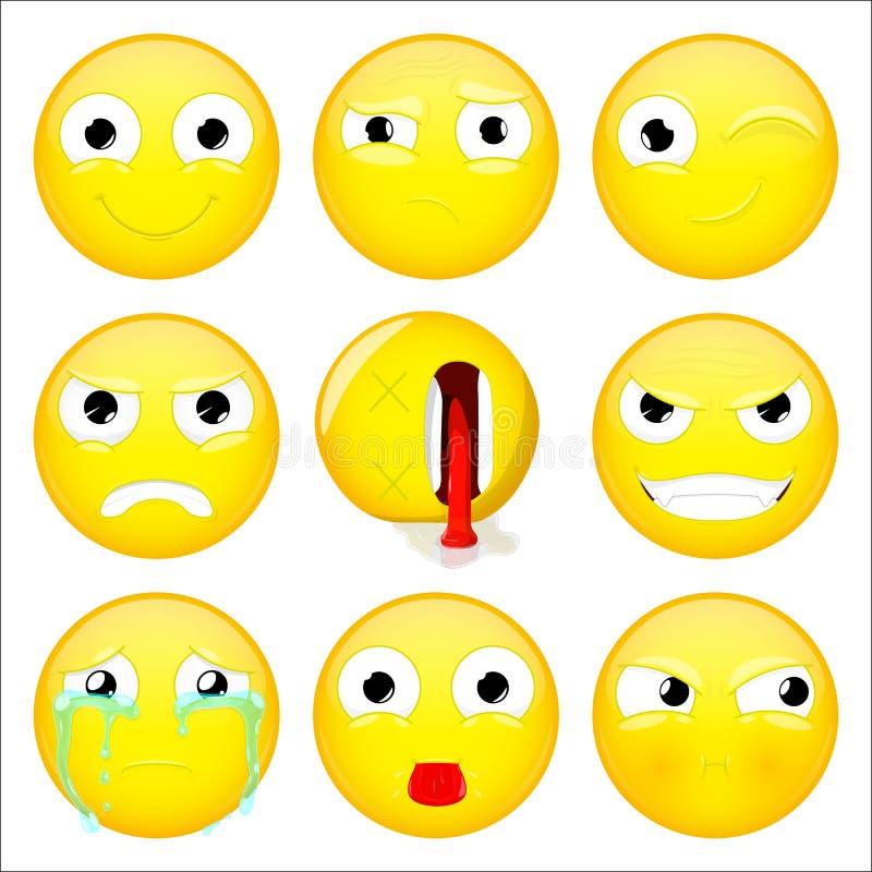 Emoji set Ono uśmiecha się, co, mrugnięcie, gniewny, kompletnie, zło, płacz, przedstawienie jęzor, dąsu emoticon również zwrócić  royalty ilustracja