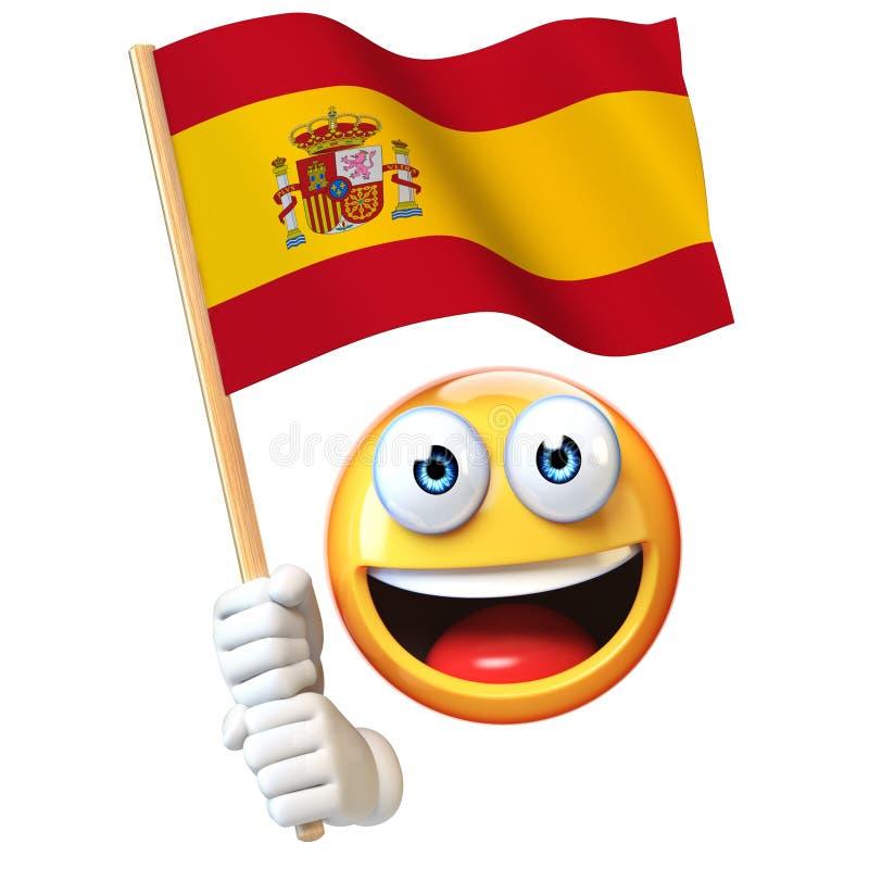 Emoji sjunker den hållande spanjoren, den vinkande nationsflaggan för emoticonen av den Spanien 3d tolkningen stock illustrationer