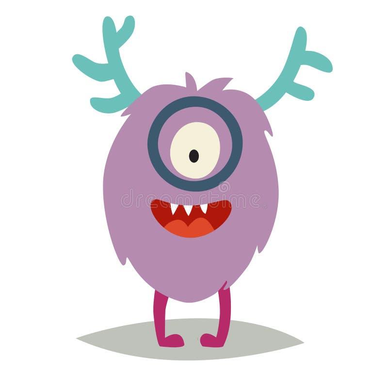 Emoji smart monster Gullig klyftig cyclopvektorillustration stock illustrationer