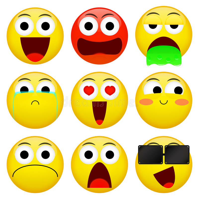 Emoji smile emoticon pack. Vector emotion illustration. royalty free illustration