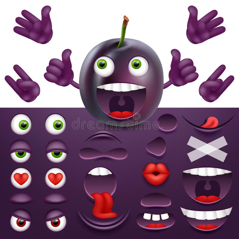 Emoji, smiley creator from plum. Collection of details for creating emotions. Vector image. Emoji, smiley creator from plum. Collection of details for creating royalty free illustration