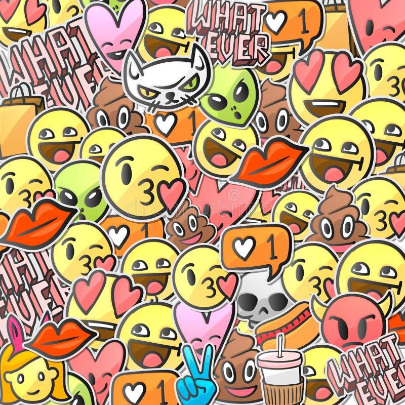 Emoji smiley faces pattern, emoticon stickers background stock illustration