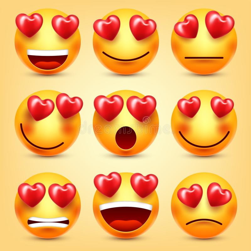 Emoji Smiley With Red Heart Vector Set. Valentines Day Yellow Cartoon Emoticons Face. Love Feeling Expression. Emoji Smiley With Red Heart Vector Set stock illustration