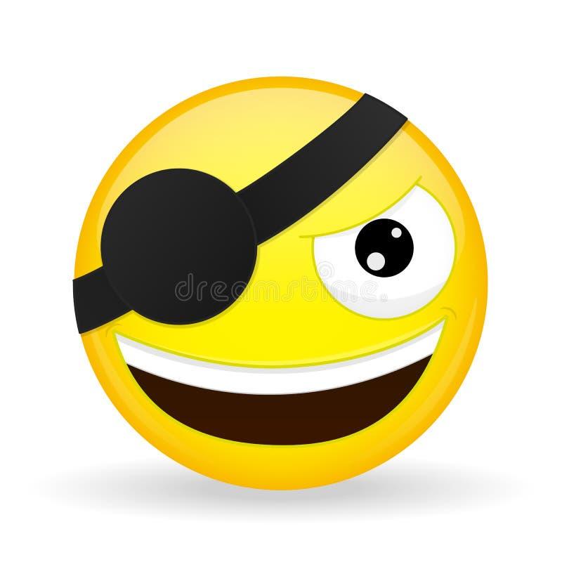 Emoji sorridente del pirata Emozione felice Emoticon del furfante Stile del fumetto Icona di sorriso dell'illustrazione di vettor illustrazione vettoriale