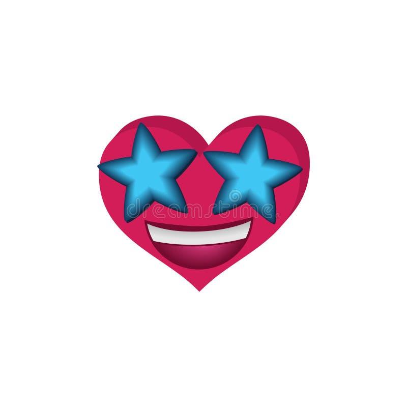 Emoji sous forme de coeur avec des étoiles dans les yeux illustration stock