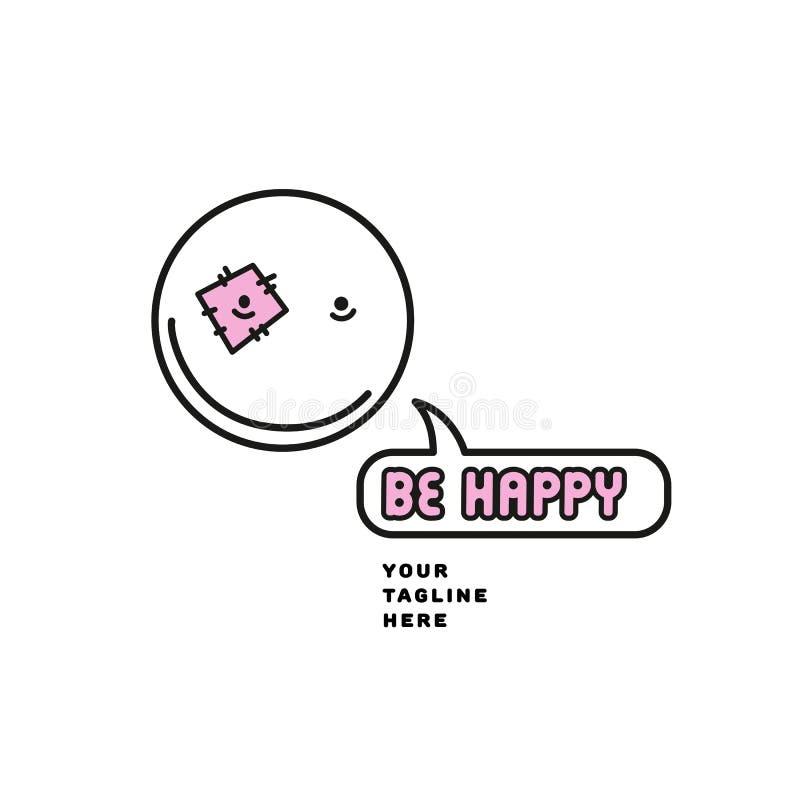 Emoji stawia czoło smiley ikony linii symbol Odosobniona wektorowa ilustracja szczęśliwy szyldowy pojęcie dla twój strony interne royalty ilustracja