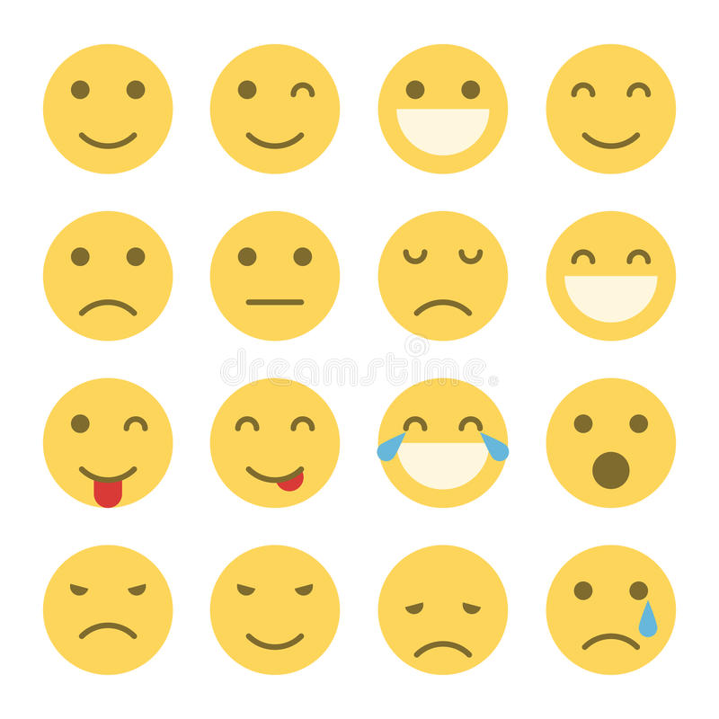 Emoji stawia czoło ikony ilustracja wektor