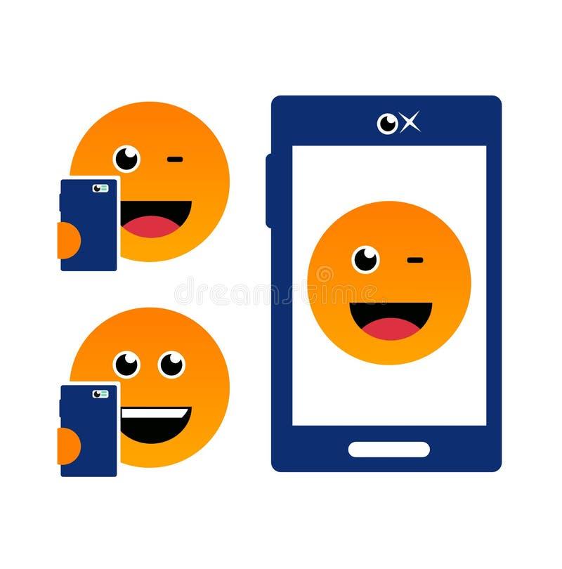 Emoji stawia czoło selfie czasu ilustrację ilustracja wektor