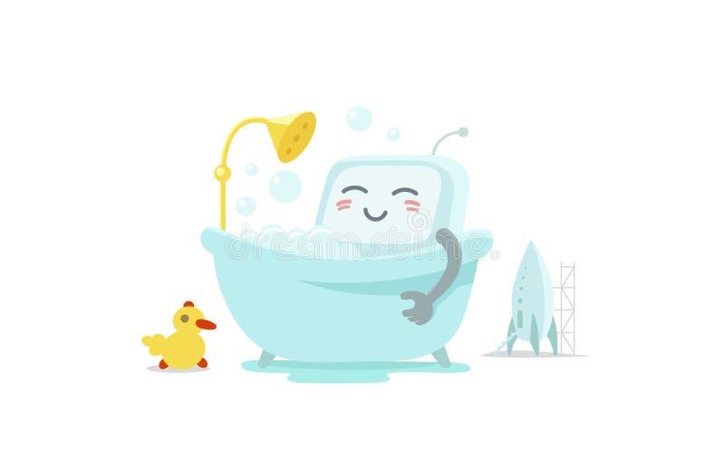 Emoji sticker robot is taking bathin in the bathroom. Very cute picture rest, exfoliation foam shampoo. Break for rest. Flat color vector illustration stock stock illustration