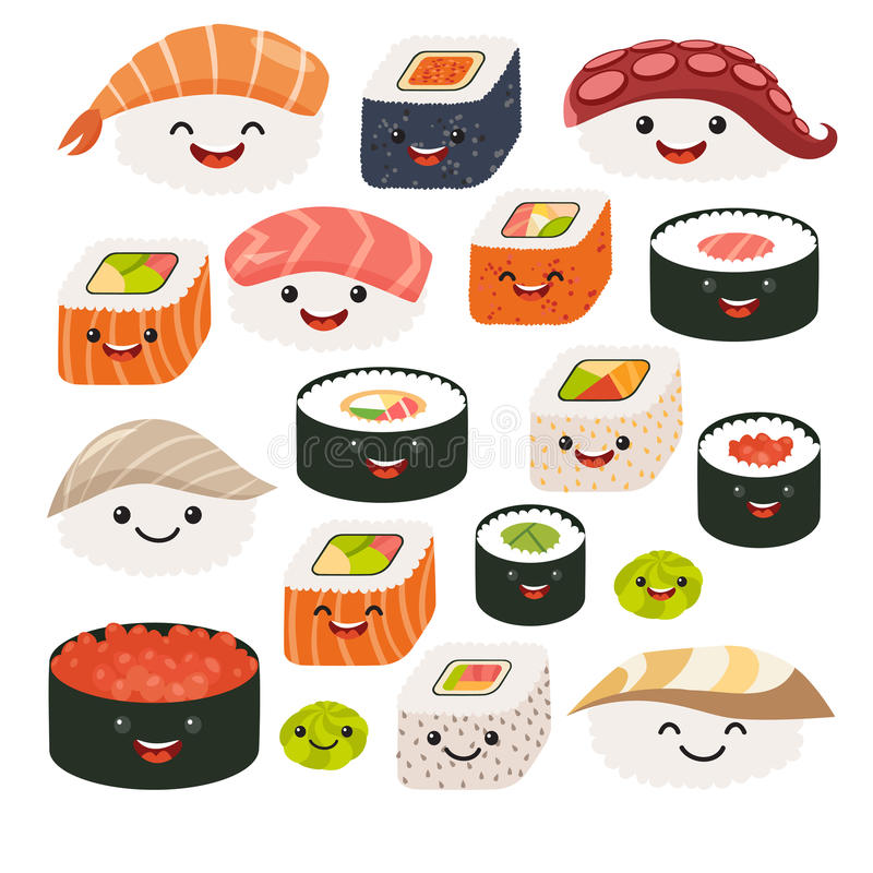 Emoji sushi characters. Cartoon japanese food. Vector set sushi cartoon characters. stock illustration
