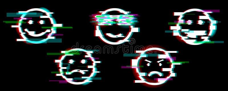 Emoji symboler Ställ in av leende med olika sinnesrörelser roligt, ledset, kallt, ilsket, skratt Tekniskt feleffekt stock illustrationer
