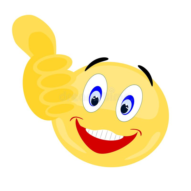 Emoji Thumbs Up with smiling facial expression royalty free stock image