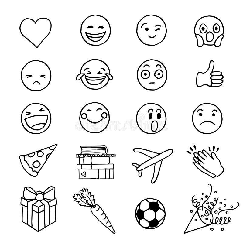 Emoji tiré par la main de griffonnage illustration libre de droits