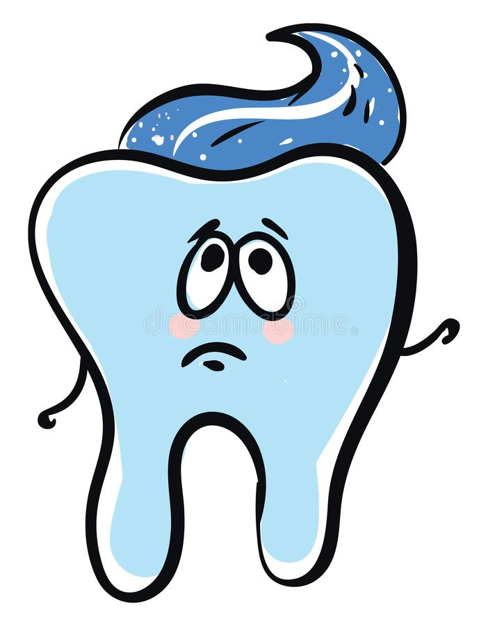 Emoji of the drawing of a sad tooth with paste, vector or color illustration. Emoji of the A tooth with blue paste has two-stick like hands, and a cute face with royalty free illustration