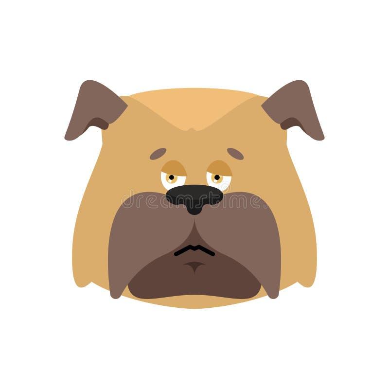 Emoji triste do cão Emoções dolorosas do animal de estimação buldogue maçante Illu do vetor ilustração do vetor