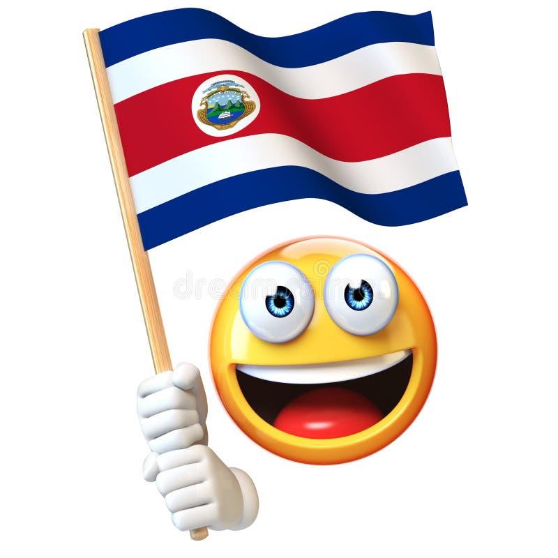 Emoji trzyma Costa Rica chorągwiany, emoticon falowania flaga państowowa Costa Rica 3d rendering ilustracji
