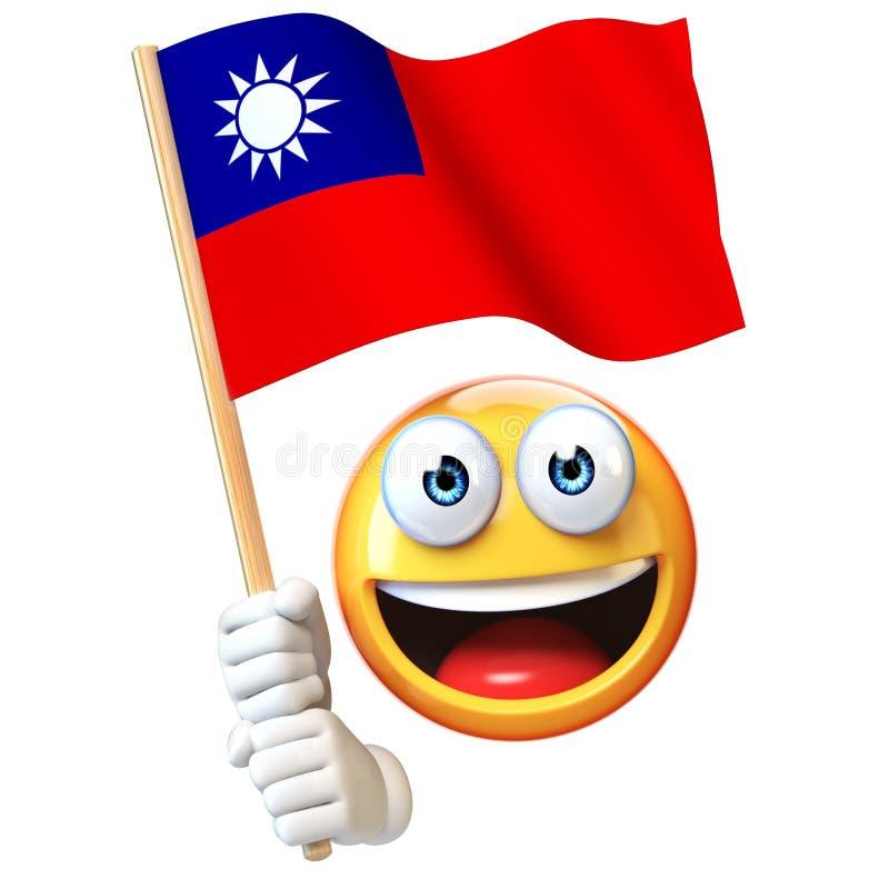 Emoji trzyma Tajwan chorągwiany, emoticon falowania flaga państowowa Tajwański 3d rendering ilustracja wektor