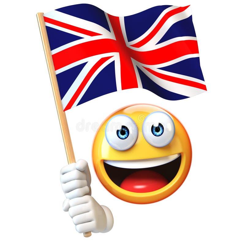 Emoji trzyma Union Jack chorągwiany, emoticon falowania flaga państowowa Wielki Brytania 3d rendering ilustracji