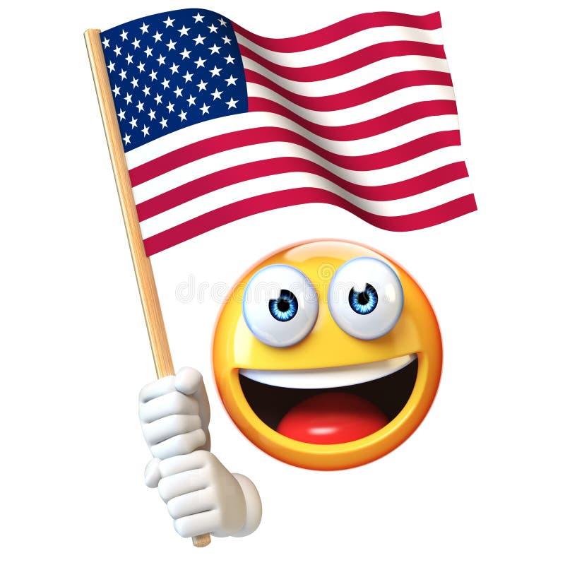 Emoji trzyma USA chorągwiana, emoticon macha Stany Zjednoczone Ameryka flaga państowowa 3d rendering ilustracja wektor