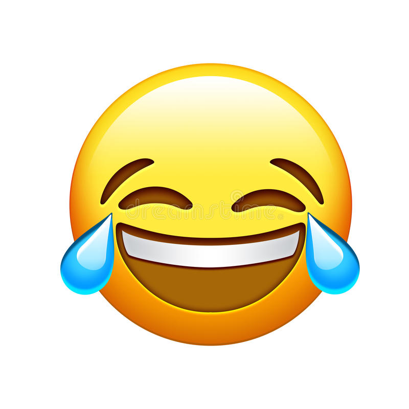 Emoji twarzy lol żółty śmiech i płacz drzejemy ikonę ilustracji