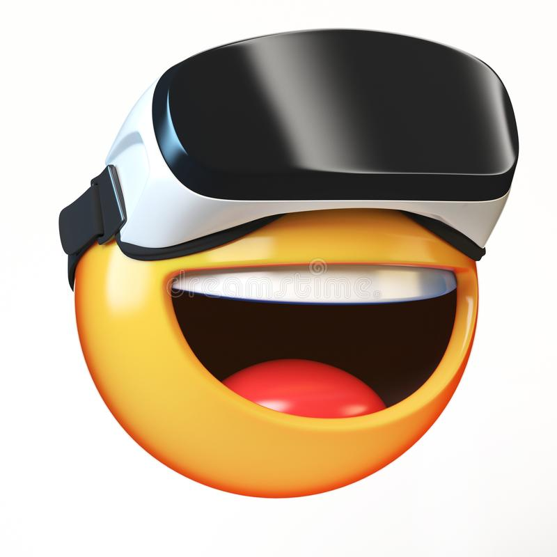 Emoji with VR headset isolated on white background, emoticon in virtual reality royalty free illustration