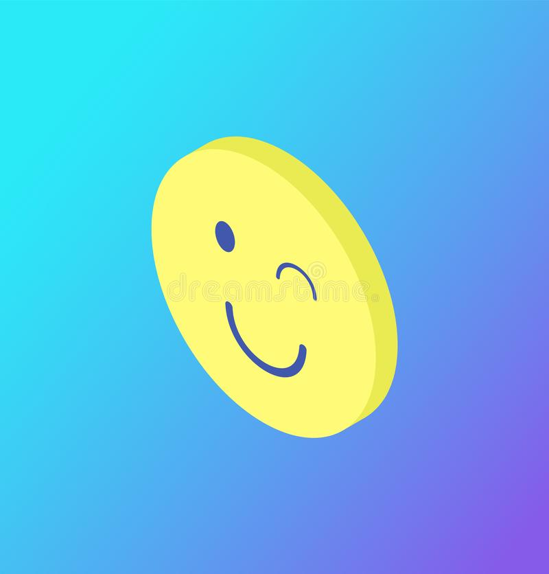 Emoji Winking Blinking Sign Isolated Icon Vector. Emoji winking yellow face isolated icon vector. Rounded head with closed eye and smile, emotion expression by royalty free illustration