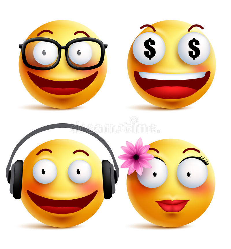 Emoji yellow emoticons or smiley faces collection with funny emotions stock illustration
