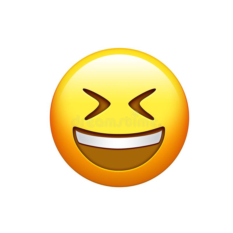 Emoji yellow face laughing out loud with eyes closed icon. The emoji yellow face laughing out loud with eyes closed icon royalty free illustration