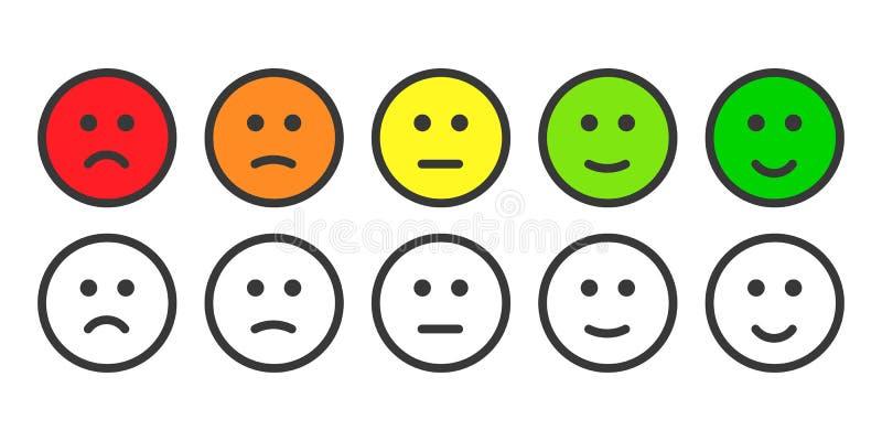 Emojipictogrammen voor tarief van tevredenheidsniveau royalty-vrije illustratie