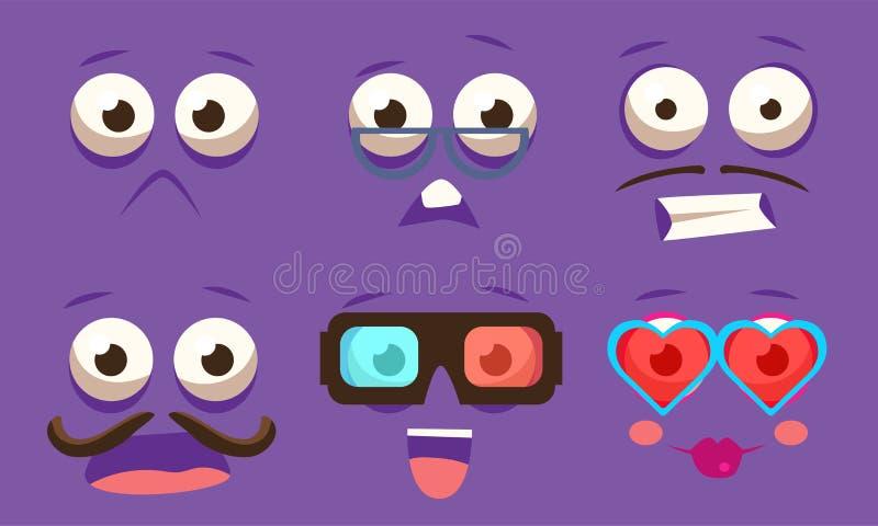 Emojis с различным волнующим набором чувств, смайликами со смешными сторонами и различной иллюстрацией вектора эмоций иллюстрация вектора