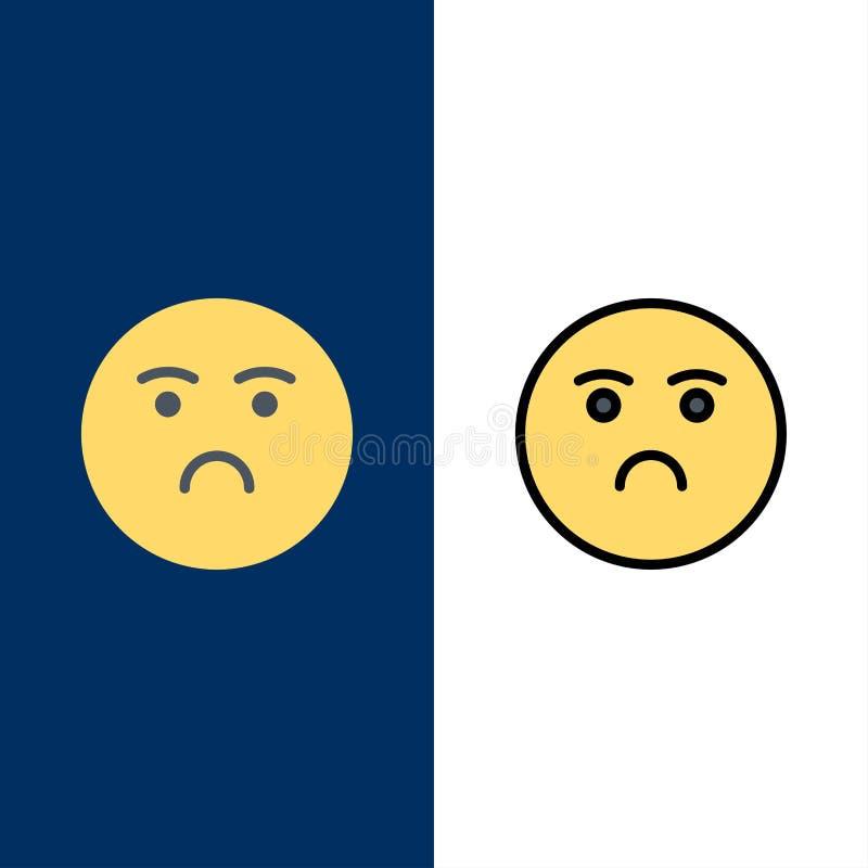 Emojis, эмоция, чувство, грустные значки Квартира и линия заполненный значок установили предпосылку вектора голубую бесплатная иллюстрация