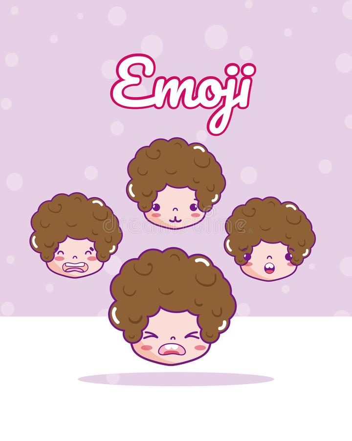 Emojis bonitos dos meninos ilustração do vetor