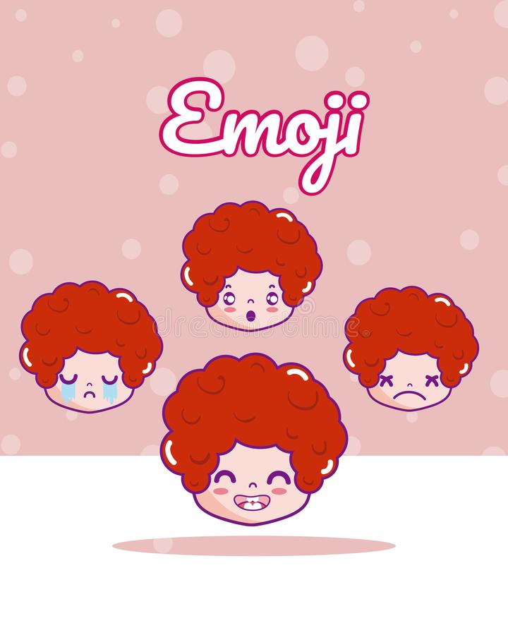 Emojis bonitos dos meninos ilustração royalty free