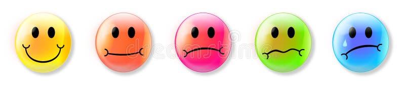 Emojis che rappresenta le sensibilità illustrazione di stock
