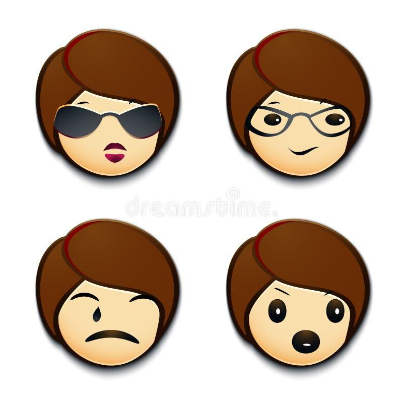 Emojis con actitud ilustración del vector